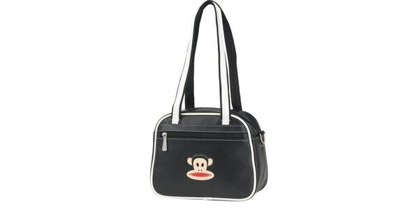 Černá taška přes rameno Paul Frank s bílým lemem