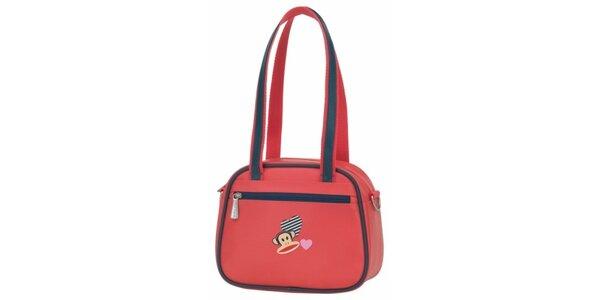 Korálově červená taška přes rameno Paul Frank s tmavě modrým lemem