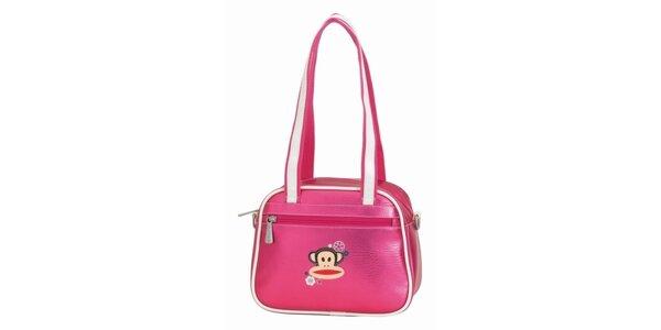 Růžová taška s bílými lemy a opičkou Paul Frank