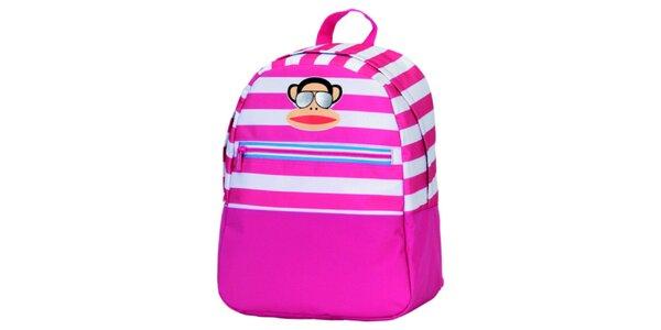 Růžovo-bílý pruhovaný batoh s opičkou Paul Frank