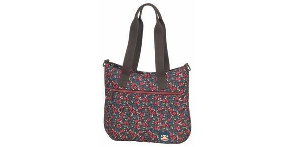 Dámská modro-hnědá taška přes rameno Paul Frank s květinovým potiskem
