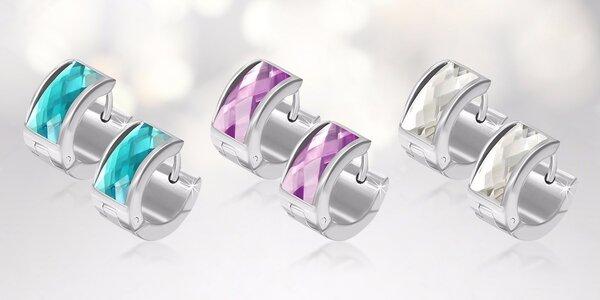 Ocelové náušnice s krystalky Swarovski Elements