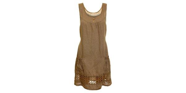 Dámské hnědo-béžové lněné šaty s perforováním Puro Lino