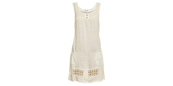 Dámské bílé lněné šaty s perforováním Puro Lino