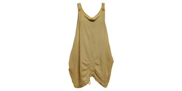 Dámské béžové lněné šaty Puro Lino