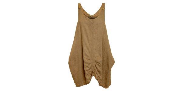 Dámské hnědo-béžové lněné šaty Puro Lino
