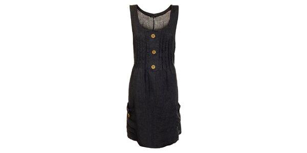 Dámské tmavě modré lněné šaty s kapsami Puro Lino
