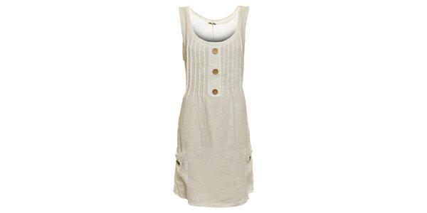 Dámské bílé lněné šaty s kapsami Puro Lino