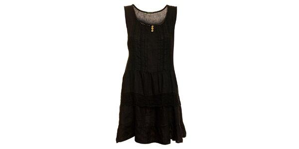 Dámské černé lněné šaty s krajkovým lemem Puro Lino