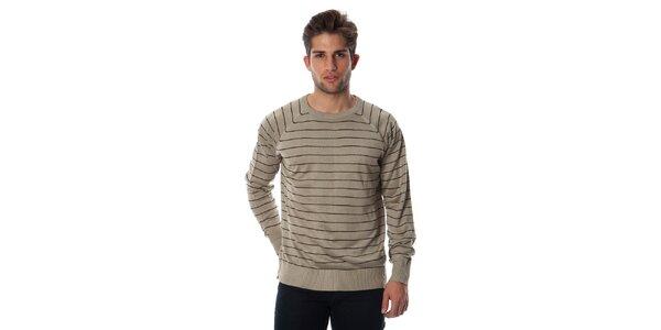 Pánský béžový pruhovaný svetr Cristian Lay