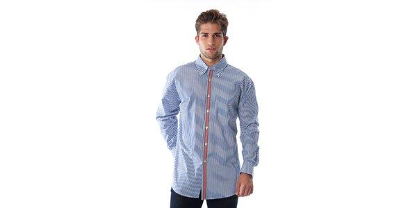 Pánská modro-bílá proužkovaná košile s červeným lemem Cristian Lay