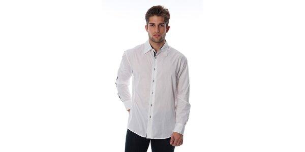 Pánská bílá košile s černým lemem Cristian Lay
