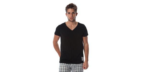 Pánské černé triko s bílým detailem Cristian Lay