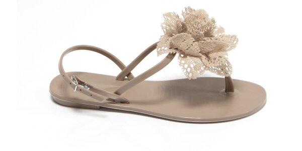 Dámské béžové sandály Favolla s krajkovou růžičkou