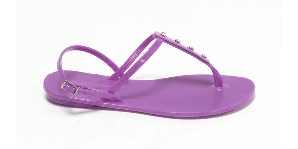 Dámské fialové sandály Favolla s kamínky