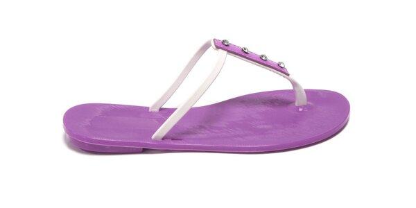 Dámské fialovo-bílé žabky Favolla s kamínky