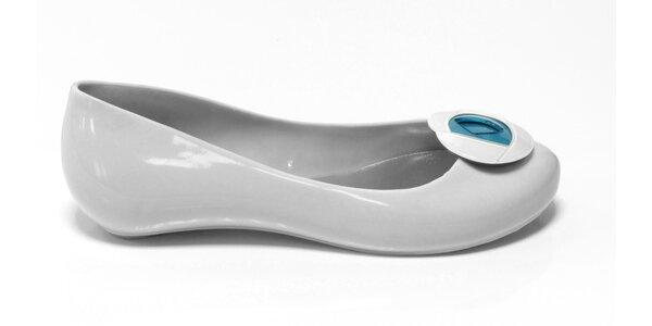 Dámské bílé baleríny Favolla s modrou růžičkou