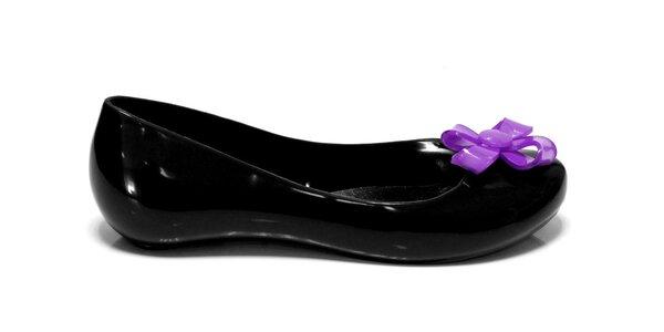 Dámské černé baleríny Favolla s fialovou mašličkou