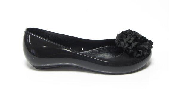 Dámské černé baleríny Favolla s kytičkou