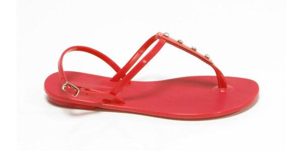 Dámské červené sandály Favolla s kamínky