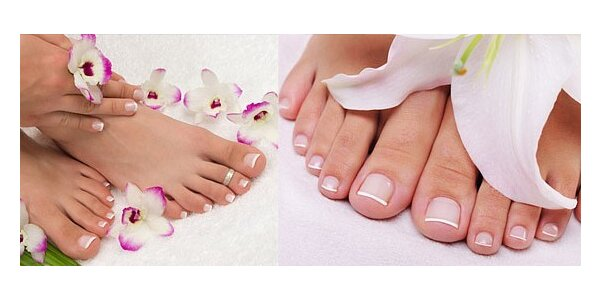 Gelová modeláž nehtů na nohou včetně lakování nebo francouzské manikúry