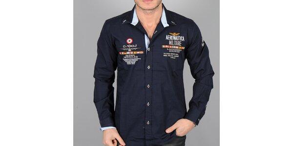Pánská tmavě modrá košile s nášivkami Aeronautica Militare