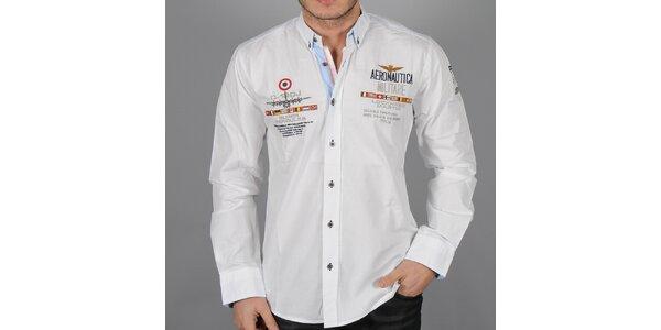 Pánská bílá košile s nášivkami Aeronautica Militare