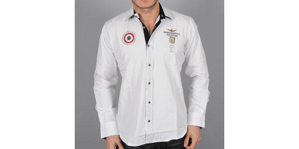 Pánská bílá košile s červeným terčem Aeronautica Militare