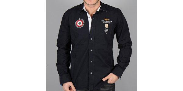 Pánská černá košile s červeným terčem Aeronautica Militare