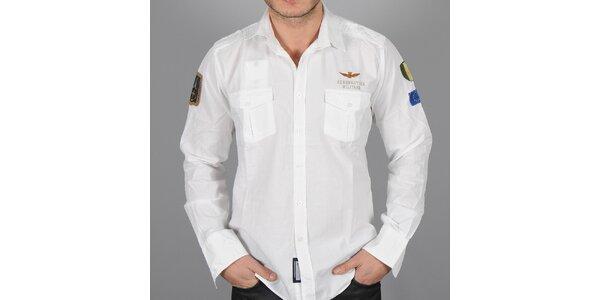 Pánská bílá letecká košile Auronautica Militare