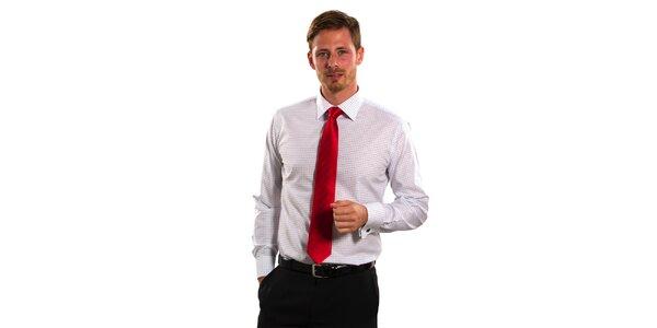 Pánská modro-bílá kostičkovaná košile Vincenzo Boretti s dvojitou manžetou