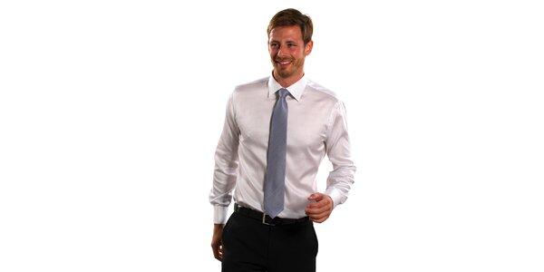 Pánská modro-bílá proužková košile Vincenzo Boretti s dvojitou manžetou
