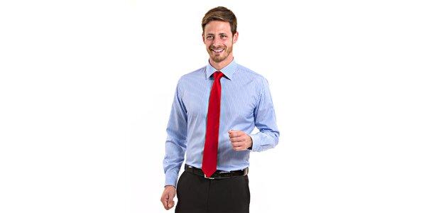 Pánská modro-bílá proužková košile Vincenzo Boretti