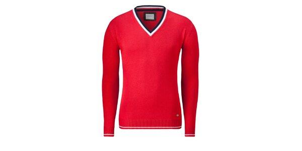 Pánský červený svetr Vincenzo Boretti s bílým proužkem