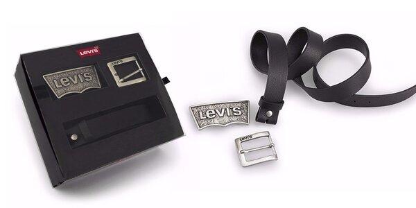 Pánský pásek se dvěma sponami Levi's - AB214828 Černý