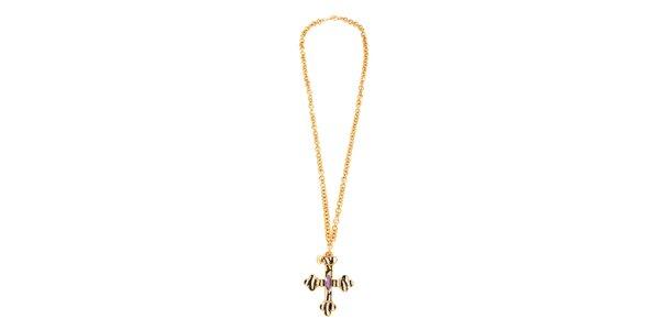Dámský zlacený náhrdelník Just Cavalli s křížkem