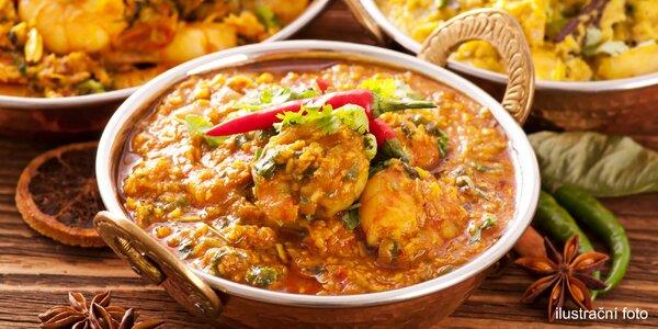 Indické menu s předkrmem a tradičním chlebem naan