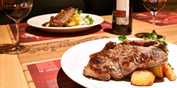 Grilovaný rump steak s přílohou i vínem pro 2