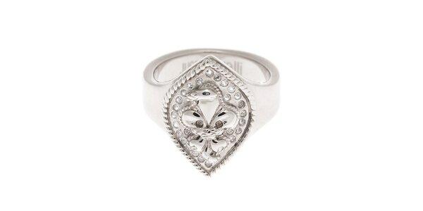 Dámský postříbřený prsten Just Cavalli s krystaly a lilií