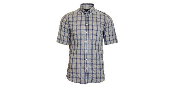 Pánská šedo-modrá kostkovaná košile Pietro Filipi