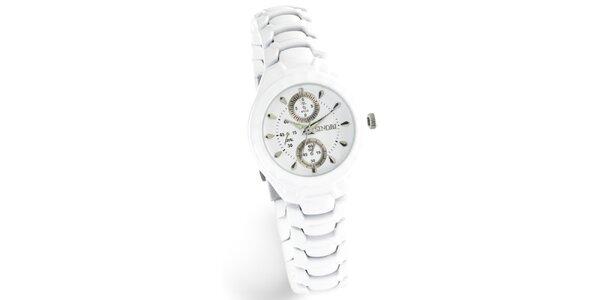 Hnědé retro hodinky s koženým řemínkem Lambretta. Nabídka skončila 9. 6.  2013. Skončila. Dámské bílé hodinky Sinobi s luminiscenčními ručičkami 93ddf4ff801