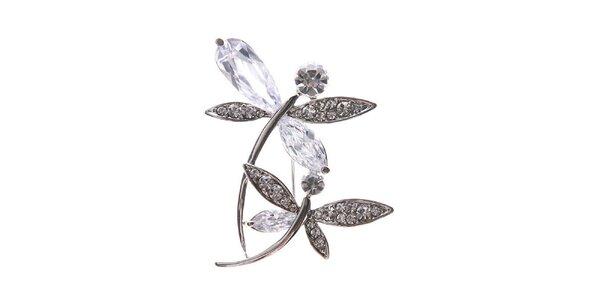 Dámská stříbrná brož ve tvaru dvou vážek Brillant'in