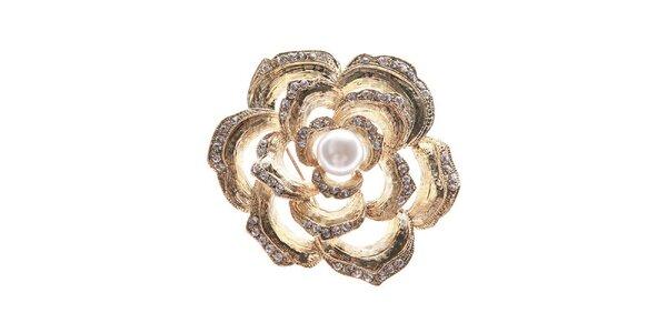 Dámská zlatavá brož ve tvaru květiny Brillant'in