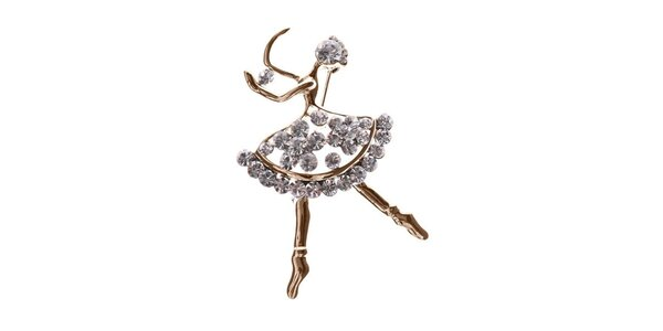 Dámská zlatá brož ve tvaru tanečnice Brillant'in