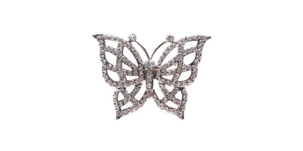 Dámská stříbrná brož ve tvaru motýla Brillant'in