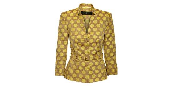 Dámský žluto-hnědý kabátek Pietro Filipi s velkými puntíky