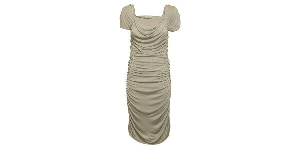 Dámské šedo-béžové nařasené šaty Pietro Filipi