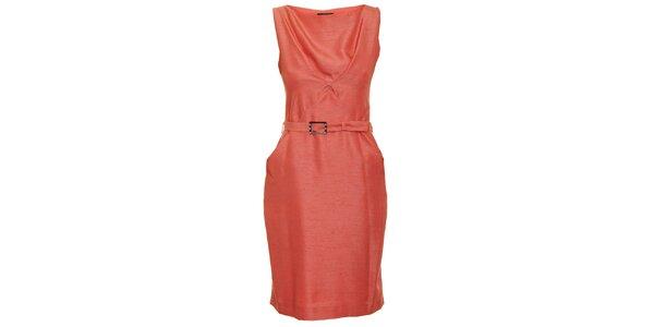 Dámské korálově červené šaty s páskem Pietro Filipi