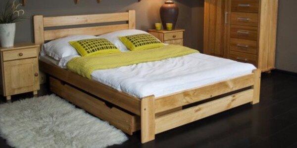 Postele z masivu borovice: Jednolůžka a dvoulůžka s matrací i bez