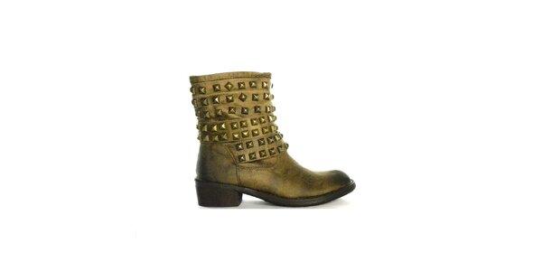Dámské béžovo-černé žíhané nízké kozačky s cvočky Shoes in the City